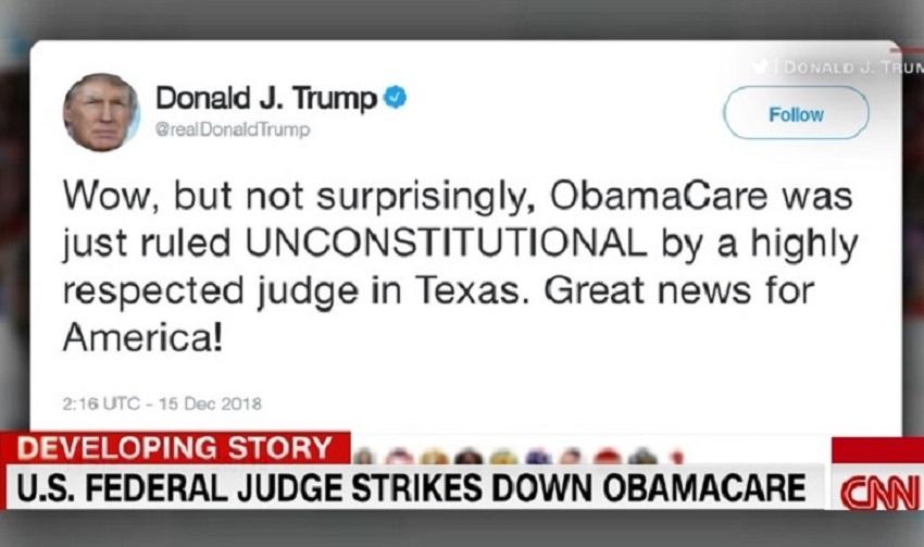 """Photo of """"დიდებული ამბავი ამერიკისთვის"""" – ასე შეაფასა ტრამპმა მოსამართლის გადაწყვეტილება """"ობამაქეას"""" არაკონსტიტუციურად ცნობის შესახებ"""
