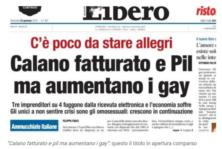 """Photo of გაზეთი LIBERO: """"იტალიაში მშპ მცირდება, გეების რიცხვი კი იზრდება"""""""