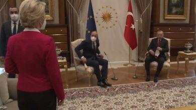 Photo of ურსულა ფონ დერ ლაიენს თურქეთში ერდოღანთან მოლაპარაკების დროს სკამი არ შესთავაზეს
